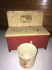 New listing Vintage Lithograph Tin Toy Little Orphan Annie Stove Oven W Ovaltine Plastic Mug