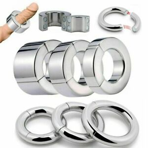 Strong Magnetic Stainless Steel Ball Stretcher Weight Men Enhancer Chastity Ring
