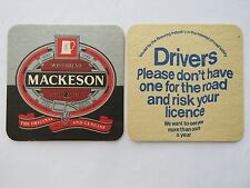 Vintage Beer Coaster: Whitbread MACKESON Stout ~ First Brewed 1907 in ENGLAND UK
