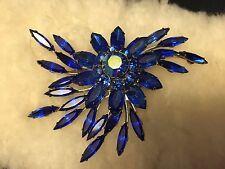 Judy Lee BROOCH Royal Blue Aurora Borealis RHINESTONE - Vintage