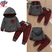 US Newborn Baby Boys Girls Hoodie T-shirt Tops+Pants Outfits Toddler Clothes Set
