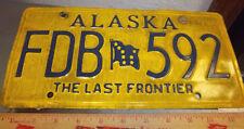 Alaska License Plate Gold Style, the last frontier, Alaska Flag exp 2010 FDB 592