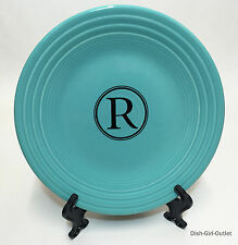"Fiesta Momogram R  9"" Lunch Plate in Turquoise Homer Laughlin Fiesta"