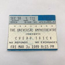 Cheap Trick Universal Amphitheatre Concert Ticket Stub Vintage March 3 1989