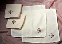 4 VTG HANDMADE LUNCHEON COCKTAIL NAPKINS, EMBROIDERED COTTON, CREAM COLOR 1950S
