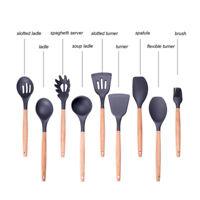 1pcs Silicone Cooking Tools Anti-Slip Wood Handle Spoon Kitchen Utensils Gadget