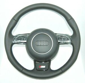 GENUINE AUDI A6 S6 A7 S LINE S-TRONIC PERFORATED COMPLETE STEERING WHEEL