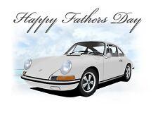 Porsche 911 912 912 E car Fathers Day Card ** WHITE **