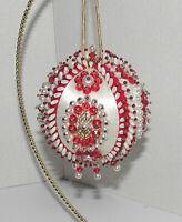 Vintage Handmade Beaded White Satin Christmas Ornament