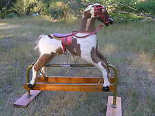 Rocking Horse,  Hojak, Roeback, 1950-60's Crafted Wood, Leather, Vinyl Handpaint