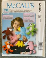 McCall's Stuffed Animals Stuffed Toys Fabric material Sewing Pattern #M7522