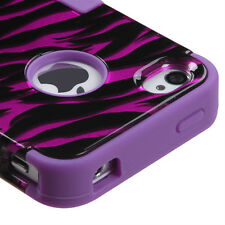 iPHONE 4 4G 4S - HARD&SOFT RUBBER HYBRID HIGH IMPACT CASE HOT PINK PURPLE ZEBRA