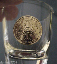CLEAR THICK GLASS SHOT GLASS GOLD COLORED COIN LIKE DESIGN 2  INCHES HIGH