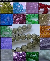 *CLEARANCE*Faceted Round Glass Beads. 10mm Strands. Over 20 Colours. *CLEARANCE*