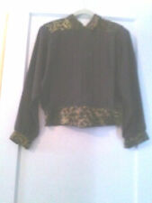 """""""NICOLA"""" PLEATED BLOUSE ~VINTAGE GOLD LUREX COLLAR & WAISTBAND~BUTTONS IN BACK~"""