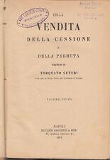 DIRITTO CUTURI TORQUATO DELLA VENDITA DELLA CESSIONE E DELLA PERMUTA 1891
