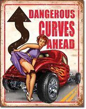 Dangerous Curves Ahead Hotrod Metal Sign Tin New Vintage Style USA #1670