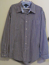 Tommy Hilfiger Mens Shirt  XL Button Front Long Sleeve Red Blue White Stripe