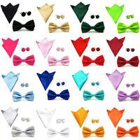 Men Solid Color Satin Bow Tie Bowtie Handkerchief Pocket Square Cuff Link Set