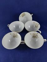 MEITO CHINA 5 TEA CUPS ( NO SAUCERS) DIAMETER JAPAN. FLOWERS WITH GOLD TRIM.