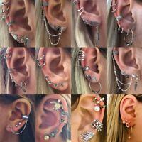 9pcs Retro Women Ear Clip Boho Hoop Bohemia Earrings Set Cuff Stud Crystal Gift