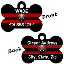 Deadpool Double Sided Pet Id Dog Tag Personalized w/ 4 Lines of Text