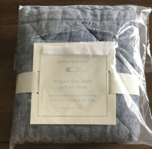 Pottery Barn Baby Nursery Belgian Flax Linen Quilted Sham Small Blue