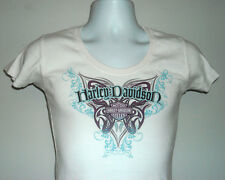WOMENS HARLEY DAVIDSON CARROLL IOWA T SHIRT MEDIUM WINGED LOGO WHITE PURPLE BLUE