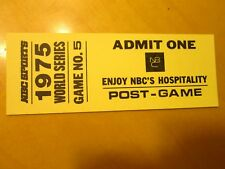 1975 WORLD SERIES Hospitality Pass Baseball Ticket- (Post Game 5)