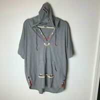 Lucky Brand Women's Hooded Top Size XL Short Sleeves Embroidered V-Neck Cotton