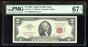 1963 $2 Legal Tender Note Fr#1513* Star Note PMG 67 EPQ Superb Gem Uncirculated