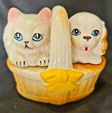 Salt & Pepper Shakers, C1940's Delightful Kitten & Puppy Made in Japan