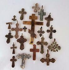 Konvolut alte Kreuze Sammlung Kreuz Bronze Messing