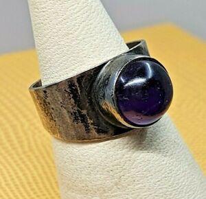 Boho Modernist Vintage Designer Georg Kramer Silber 835 Ring Amethyst Größe 52
