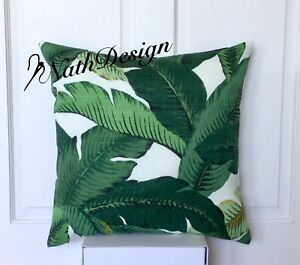 Tommy Bahama Indoor/Outdoor Green & White Swaying Palm Leaf Cushion Cover