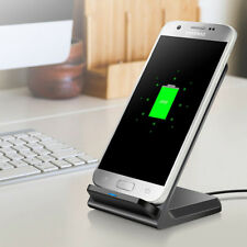 Qi Wireless Charger 10W Fast Charging Dock Slim Stand Pad For SamsungS9 S8 S7 S6