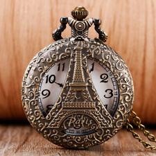 Vintage Retro Hollow Paris Eiffel Iron Tower Analog Quartz Pocket Watch Necklace
