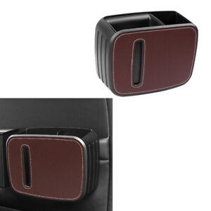 1x Universal Car Auto Tissue Box PU Leather Clip Holders Paper Napkin Box Brown