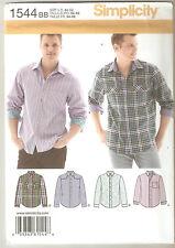 Simplicity Sewing Pattern 1544 Men's Long Sleeve Shirts With Back Yoke Sz 44-52