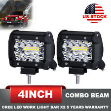 2 Pcs 4 inch 200W LED Work Light Bar Spot Flood Combo Beam Offroad Driving Lamps