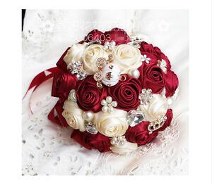 4pcs Artificial Bride Groom Silk Wrist Corsage Wedding Hand Flower Wine Red