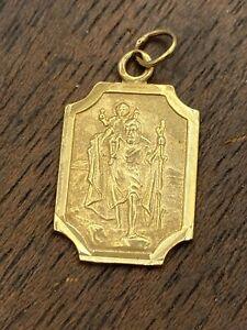 Solid 9 Carat Gold charm/pendant ST CHRISTOPHER. British Hallmarked