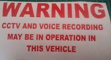 3 Pegatinas de grabación de voz y CCTV coche furgoneta taxi STICKER/DECAL