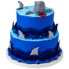 NEW SHARK  CREATIONS THEME CAKE TOPPER KIT PLUS 12 SHAKRK FIN CUPCAKE PICKS (1)