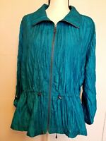 Ruby Rd./JACKET/Woman/Blue/Shiny/Long or 3/4 Sleeve/Zip Front/Size 18/