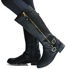 New Women FMan Black Tan Brown Biker Riding Knee High Boots 5.5 to 10