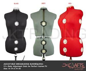 JKCraft Size 8-14/14-20 Adjustable Dressmakers Mannequin Dressmaking Dress Form