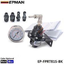 EPMAN RACING TURBO BYPASS BLACK ADJUSTABLE FUEL PRESSURE REGULATOR LIQUID GAUGE