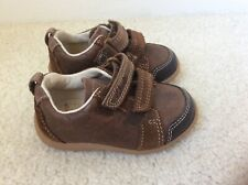 CLARKS FIRST SHOES BABY BOY BROWN & NAVY LEATHER SIZE 3F BNWOT