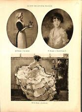 Peinture La soubrette par Muenier peintre La robe verte par ILLUSTRATION 1926